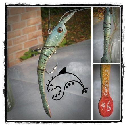 Folk Art Shrimp Lure 5 by BaitsByScotty on Etsy, $25.00