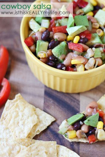 Cowboy Salsa (aka Cowboy Caviar) with fresh, diced avocados. So good it's like crack. And so easy you'll probably make it weekly. #recipe #appetizer #mexican | isthisREALLYmylife.com