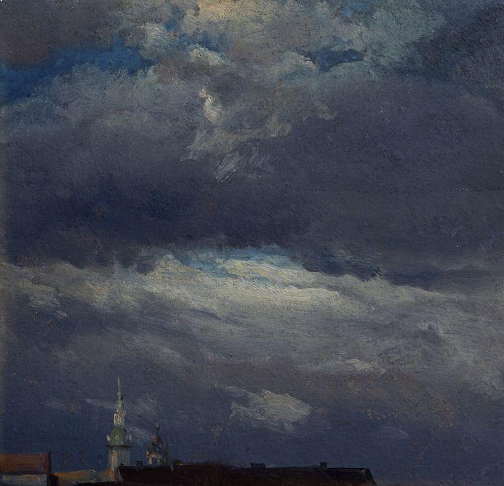 Йохан Даль. Грозовые облака над башней замка в Дрездене.