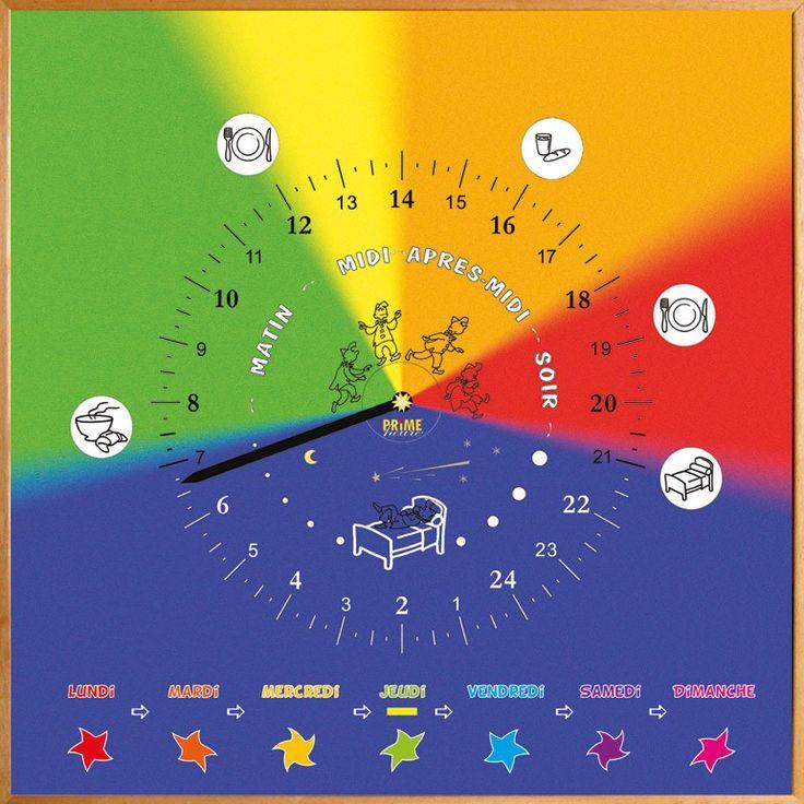 Le Synopte® est la combinaison d'une horloge, d'un emploi du temps, d'un tableau d'activité et d'un Time Timer ! C'est une alternative astucieuse à l'horloge classique pour se situer rapidement et simplement dans la journée, en s'appuyant sur des repères visuels concrets plutôt que sur des heures. Le Synopte® matérialise une journée de 24 heures dans sa globalité et la structure en 5 grandes périodes représentées par des couleurs et identifiables d'un seul coup d'œil. Une seule aiguille…