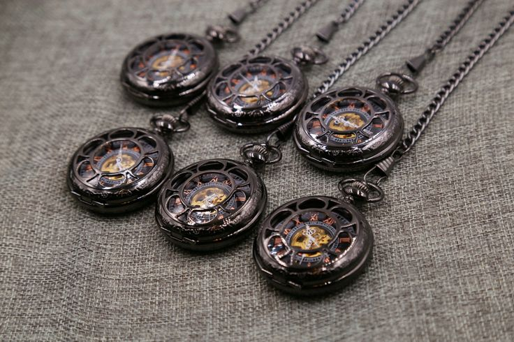 Set of 13 Engravable Pocket Watch Personalized Groomsmen gift Black Engraved Wedding Mechanical Pocket Watch with Chain  Christmas gift by PocketWatchEngraved on Etsy