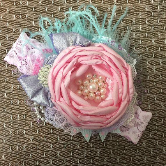 Venda de Pascua del bebé. diadema rosa y aqua.