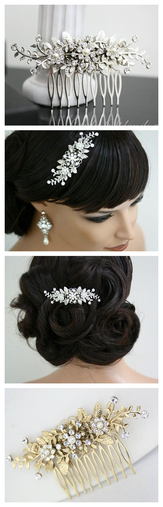 Bridal Comb Vine Leaf hair comb pearl rhinestone Wedding Hair Accessories GENOA DELUXE