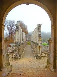 "View from inside the ruins at Chateau de Fere, looking back at the ""hallway""."