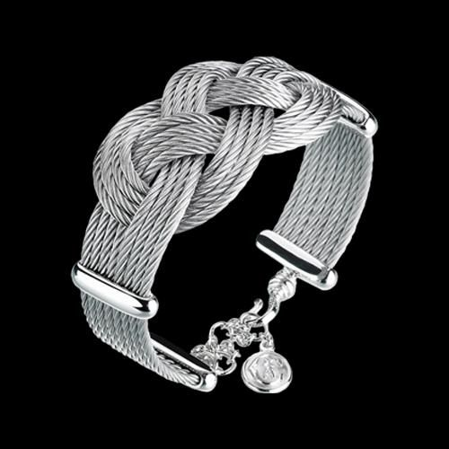 charriol celtic love knots bracelet eight rows stainless. Black Bedroom Furniture Sets. Home Design Ideas