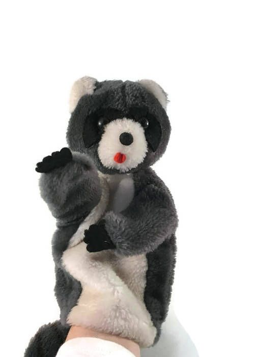ON SALE Vintage 1976 Dakin Raccoon Hand Puppet.  Racoon Hand
