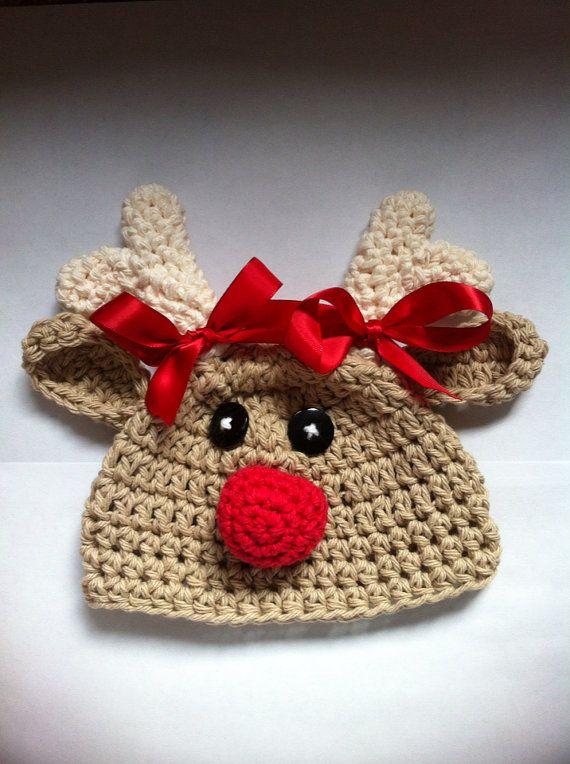 Crochet reindeer hat baby reindeer hat newborn by MRocheCrochet $21.00
