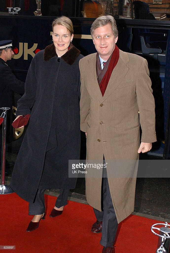 Prince Phillipe and Crown Princess Mathilde of Belgium attend a luncheon concert at Concertgebouw a day before the wedding of Dutch Crown Prince Willem-Alexander and Maxima Zorreguieta February 1, 2002 in Amsterdam, The Netherlands.