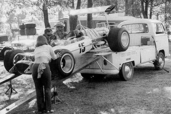 As the operator of a successful Volkswagen dealership in Fife, Washington, Pete Lovely was famed for hauling his Lotus-Cosworth 49B F1 racer on the back of a VW Kombi pickup. Probably got excellent fuel economy, too.