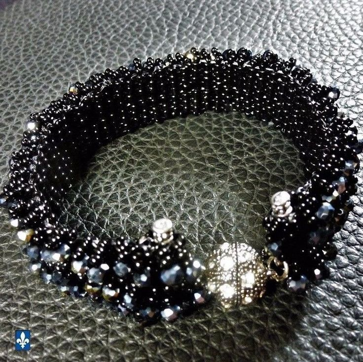 ♥ Sparkling Weaved Black Glass & Iridescent Black Crystal Plated Silver Bracelet #Bracelet