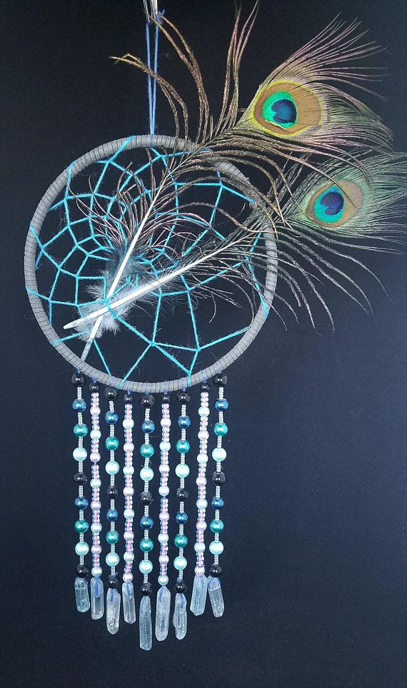 pretty gift for her with blue green czech glass bead Boho Earrings Dreamcatcher inspired Peacock feather on stone
