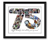 Seventy-five 75 Sixty 60 Forty 40 fortieth Thirty 30 Anniversary Birthday Digital Printable Custom Any 1 or 2 digit Number Photo Collage