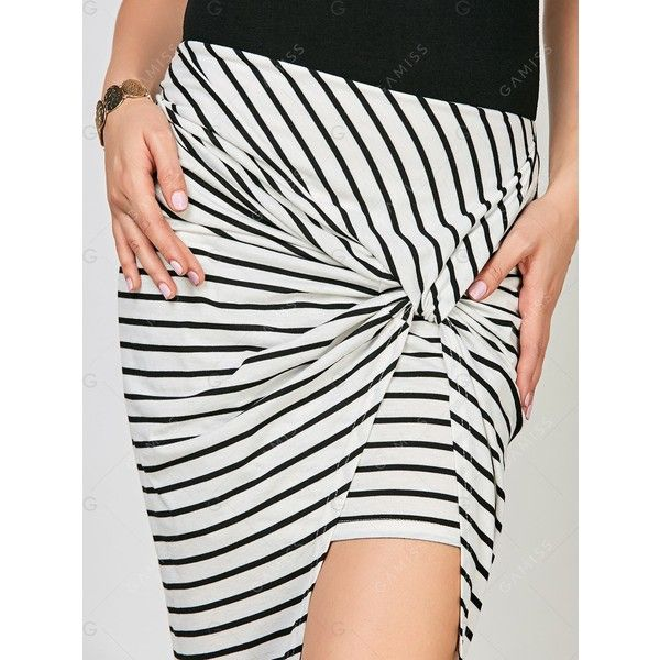 Tea Length Striped Asymmetrical Dress (170 ARS) ❤ liked on Polyvore featuring dresses, black and white asymmetrical dress, asymmetrical stripe dress, black and white dress, black white dress and black white striped dress