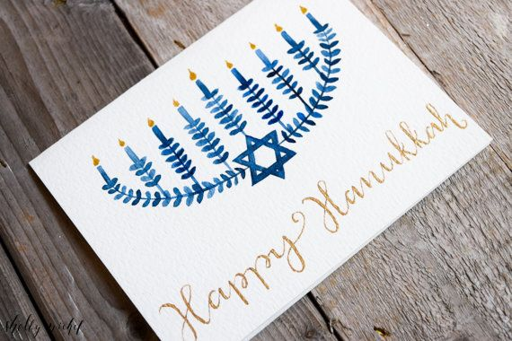 This original, handpainted Happy Hanukkah Card features a Menorah and beautiful gold watercolor. I paint each card myself, so not one is