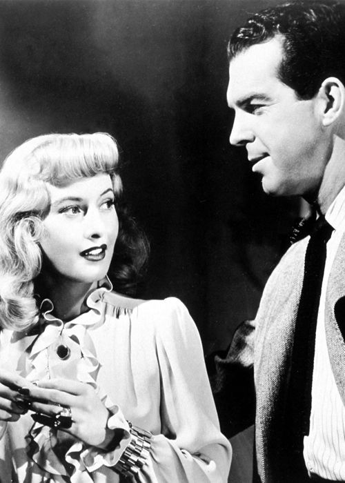 """""""That's a honey of an anklet you're wearing, Mrs. Dietrichson."""" - Double Indemnity (1944), with Barbara Stanwyck and Fred McMurray"""