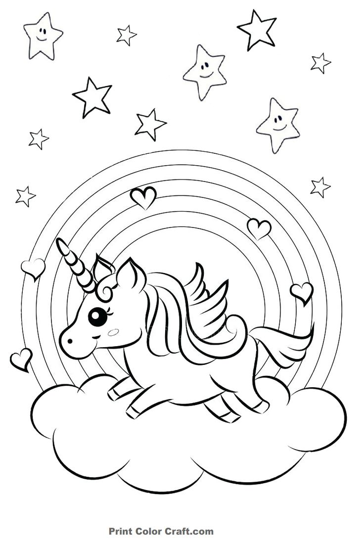 Rainbow and Hearts Colorful Unicorn Coloring Pages Print