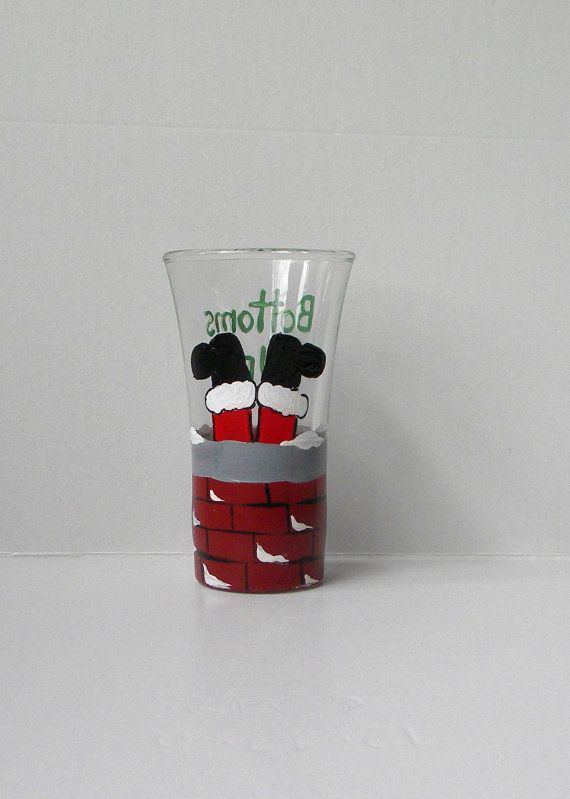 Bottoms Up Shot Glass Santa Chimney Glass by EmbellishCraft
