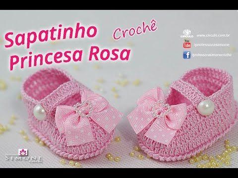 Sapatinho de crochê Princesa Rosa - passo a passo - #ProfessoraSimone #c...