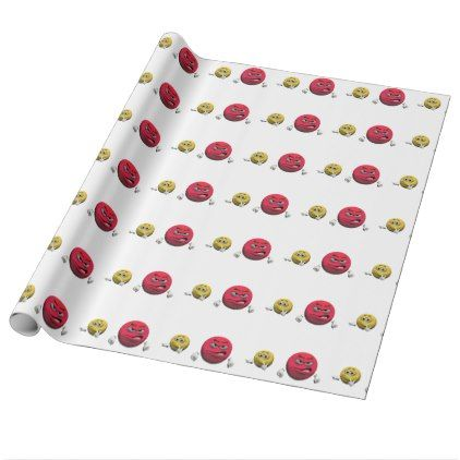 Yellow and red angry emoticon or smiley wrapping paper - wrapping paper custom diy cyo personalize unique present gift idea