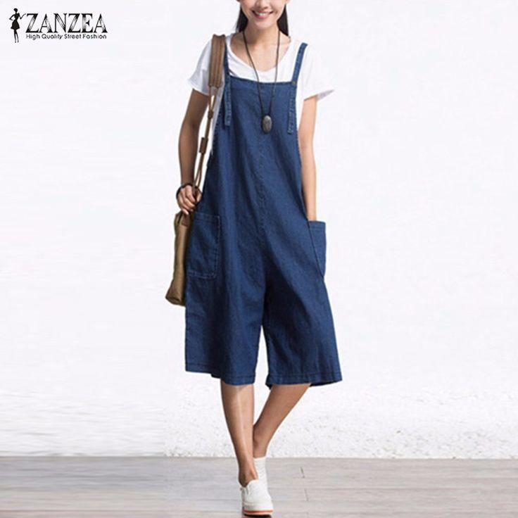 Zanzea womens áo liền quần 2017 không tay có thể điều chỉnh túi dây đeo nút chân rộng denim màu xanh retro rompers bê dài yếm