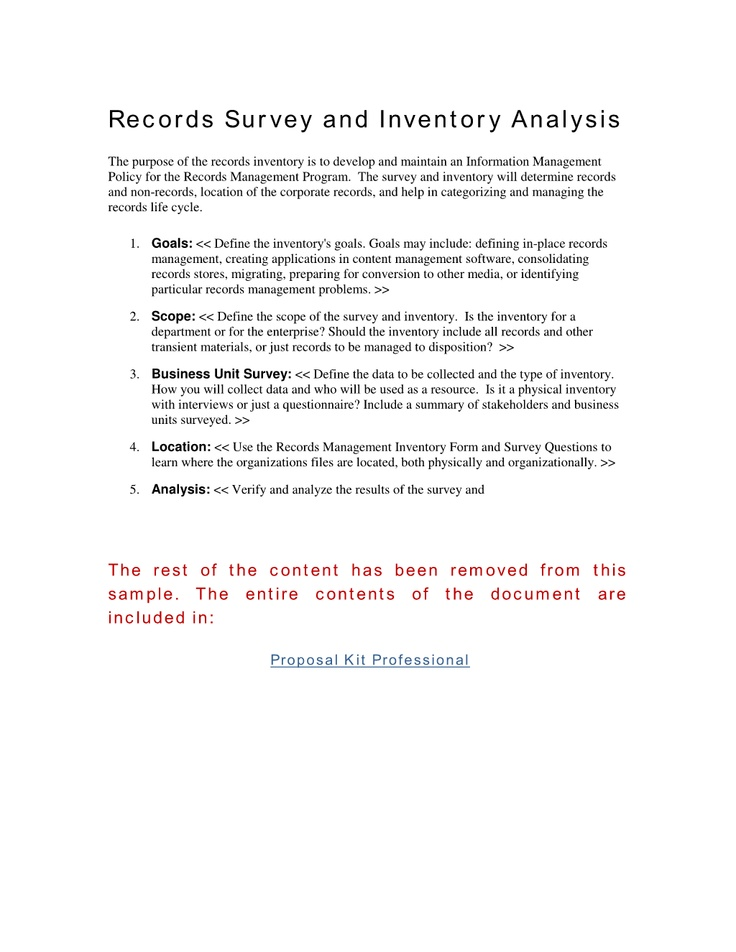 Records Survey and Inventory Analysis - The purpose of the records - Management Analysis Sample