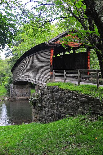 "Humpback Covered Bridge, Alleghany County, Virginia. #DidYouKnow? The bridge is one of the few remaining covered bridges in the U.S. that was built higher in the middle than on either end; hence the name of ""humpback""!"