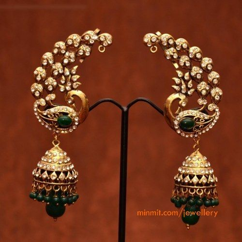s peacock design green beads ear hangings with jhumkas.jpg