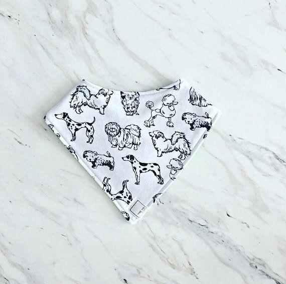 Monochrome Dog Print Bib   Dog Bib   Black And White Baby Bib   Drool Bib   baby Shower Gift   Dog Lover Baby Bib   Toddler Newborn Bib  