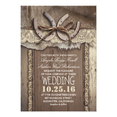 Rustic Country Horseshoes and Burlap Lace Wedding Card - tap, personalize, buy right now!