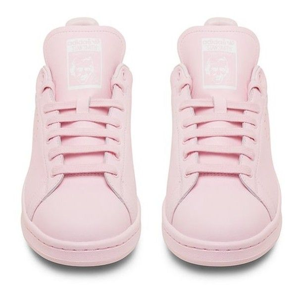 Raf Simons X Adidas Originals Stan Smith Light Pink Low Top Sneaker featuring polyvore, fashion, shoes, sneakers, pink, adidas sneakers, adidas, light pink shoes, low tops and adidas footwear