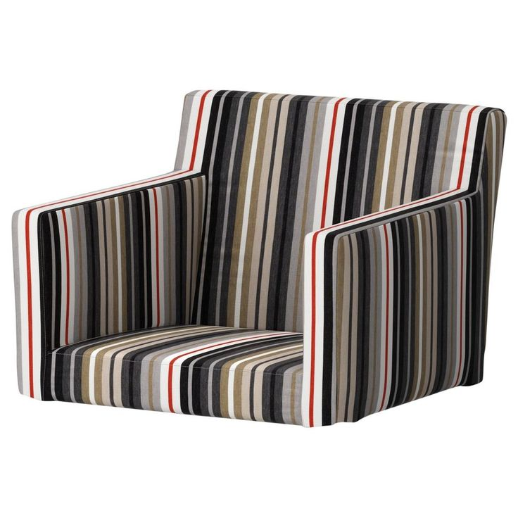Charming Ikea NILS Chair With Armrests Cover Armchair Slipcover Dillne Gray Beige  Stripe