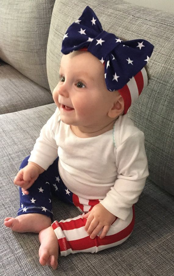 Memorial Day baby leggings and headband outfit by Swaddled Chic Boutique.