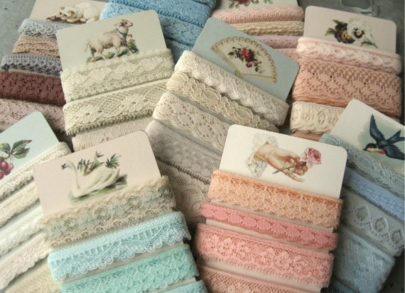 ONE CARD  Vintage Pastel Flat Lace on by TeapotsandTelephones, $4.75