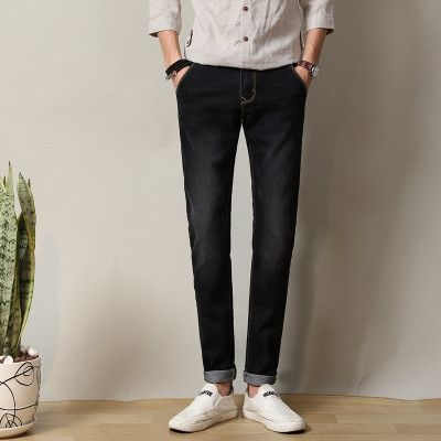 FAVOCENT Spring & Autumn Korean version of the small straight stretch jeans men waist Slim jeans multicolor Plus size 28-38