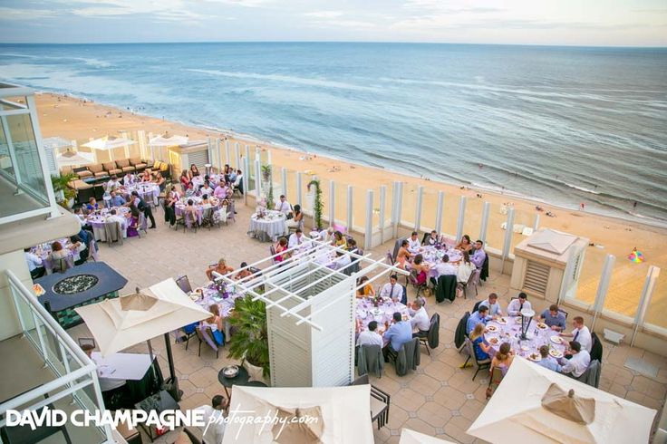 Outdoor reception on 10th floor sundeck at Oceanaire Resort Hotel |  www.vacationrentalsvabeach.com/weddings  | Virginia Beach Wedding