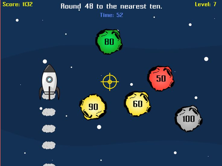 Need to work on rounding numbers? Astro Blaster can help with that! Round to the nearest 10, 100, or 1000 by blasting asteroids that show the correct rounded number. RoomRecess.com