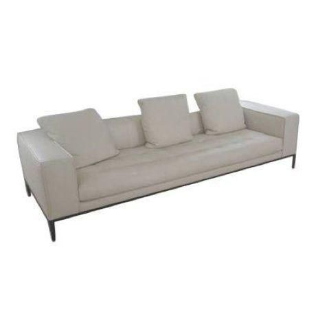 A never been used B&B Italia, Max Alto Simplex Sofa in leather (Koto 103) with 3 matching pillows. This sofa features a tubular steel frame, steel feet, and leather upholstery. This piece is very high quality with great European style.