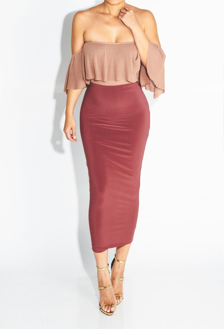 "Taupe ""All you need in a Basic"" #bodycon Midi Skirt with ruffled body"