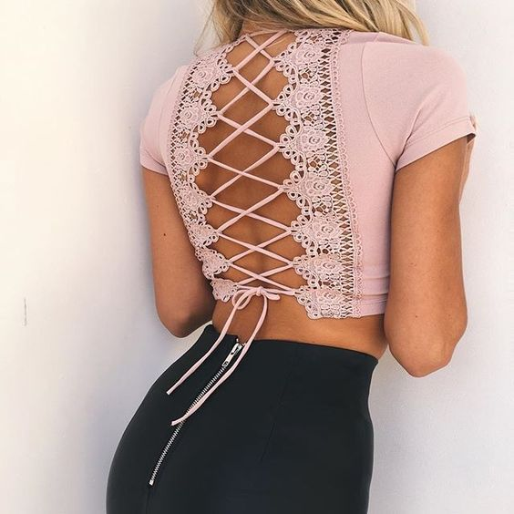 Black pants with a nude lace up back top - LadyStyle