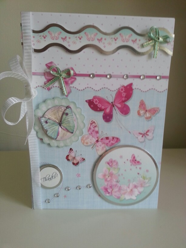 I used hunkydory flutterbye wishes to make this thankyou card, the ribbon is from a Christmas box I saved