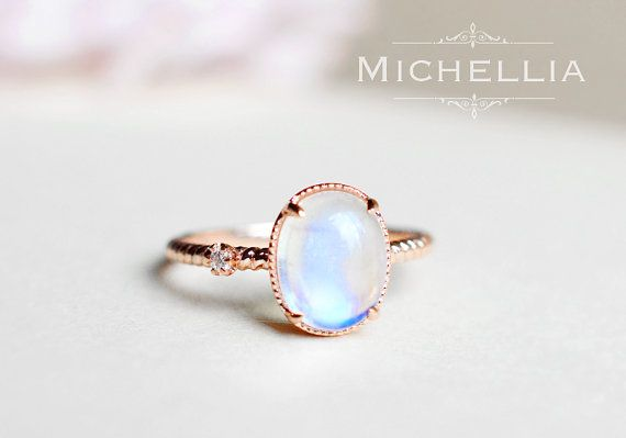 Rose Gold Moonstone Engagement Ring with Diamond, 14K 18K Solid Gold Rainbow Moonstone Promise Ring, Blue Moonstone, White Gold, Yellow Gold