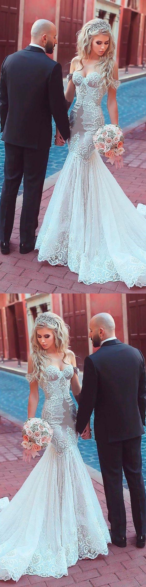 Lace Wedding Dresses Off-the-shoulder Romantic Long Train Mermaid Bridal Gown JKW263