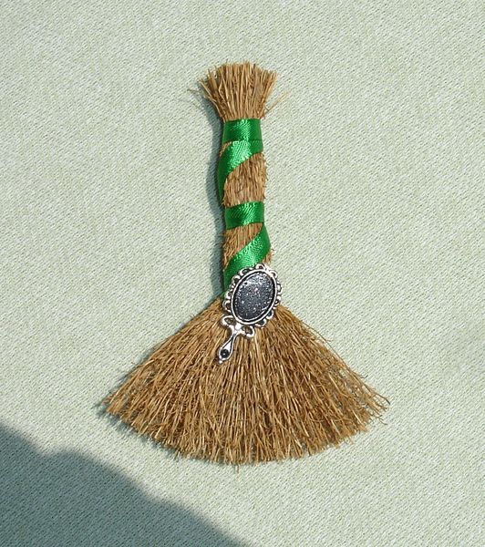 Mini Besom with Scrying Mirror - Wiccan Decor