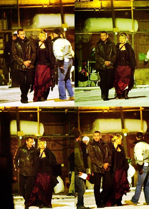 Christopher Eccleston and Billie Piper behind the scenes, and still basically attached at the hip.  I think that their real-life friendship is what made the Doctor/Rose relationship so real.