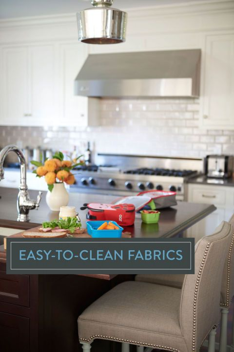 Spills and sticky fingers shouldn't stop you from picking stylish pieces that match your home's scheme.