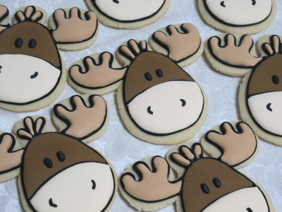 Forest Friends Sugar Cookies Moose by MartaIngros on Etsy, $28.00
