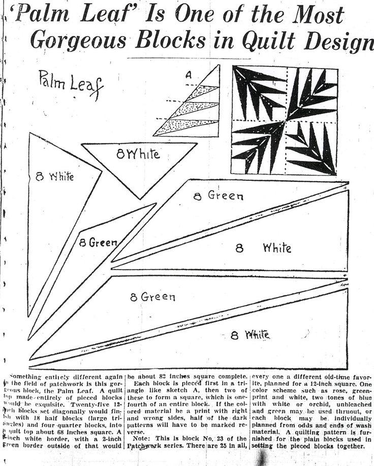 Palm Leaf Quilt Pattern