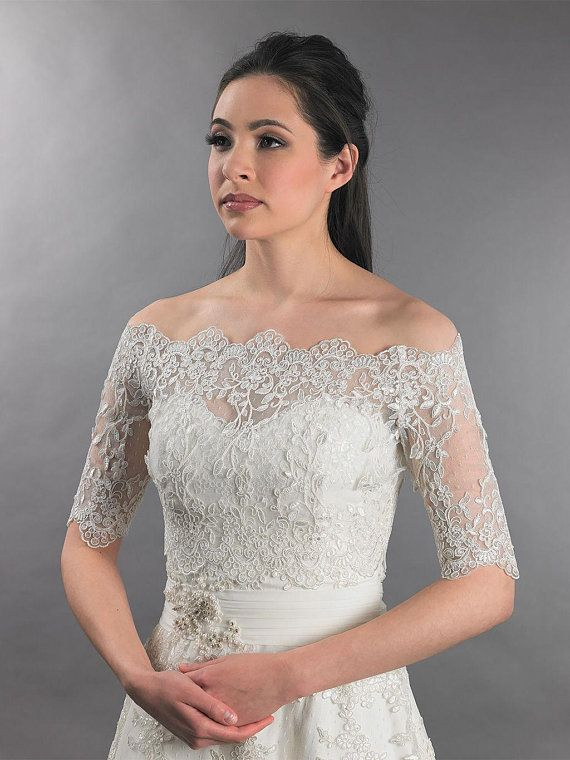 Wedding Bolero Lace Top Off Shoulder Bridal Jackets Wraps Shrug White Ivory 2019