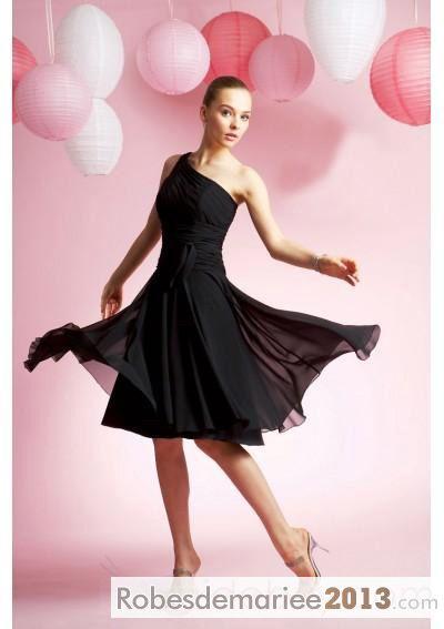 Robe demoiselle honneur Bustier Asymétrique A-ligne Sans manche Longueur mini-