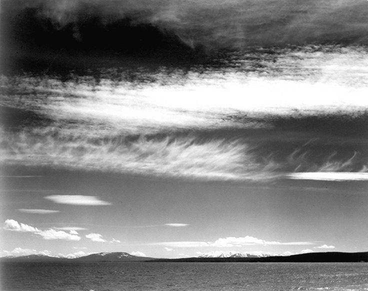 Ansel Adams. Title: Yellowstone Lake, Date: 1942.  Buy this work as premium quality canvas art print from Modarty Art Gallery #art, #canvas, #design, #painting, #print, #poster, #decoration